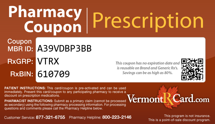 Vermont Rx Card - Free Prescription Drug Coupon Card